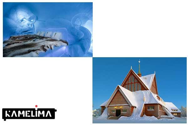 کلیسای کیرونا و هتل یخ لاپلند